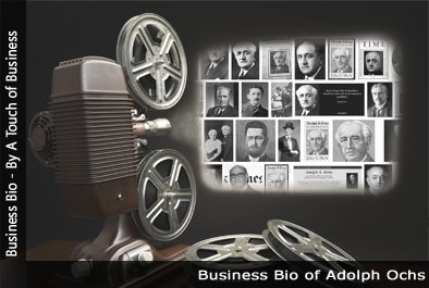 Image of a projector displaying images related to Adolph Simon Ochs