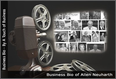Image of a projector displaying images related to Allen Neuharth
