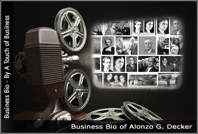 Image of a projector displaying images of Alonzo G. Decker