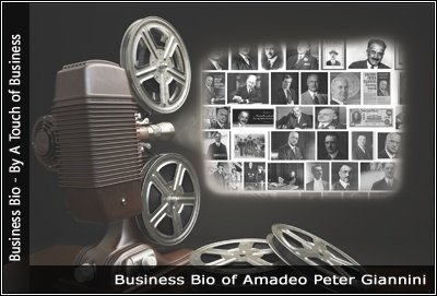 Image of a projector displaying images related to Amadeo Peter Giannini