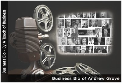 Image of a projector displaying images related to Andrew Grove