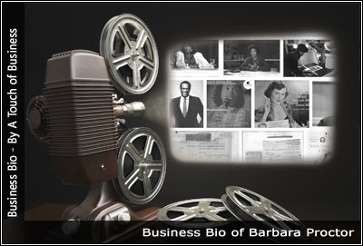 Image of a projector displaying images related to Barbara Proctor