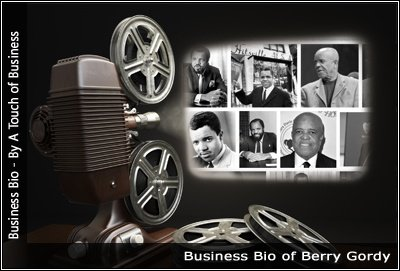 Image of a projector displaying images related to Berry Gordy