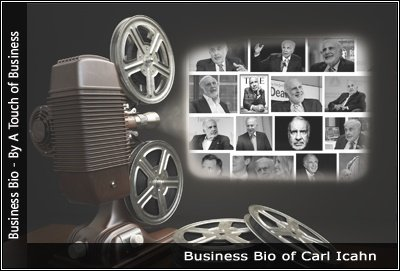 Image of a projector displaying images related to Carl Icahn