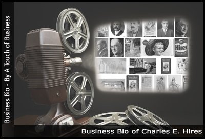 Image of a projector displaying images related to Charles E. Hires