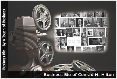 Image of a projector displaying images related to Conrad-N. Hilton