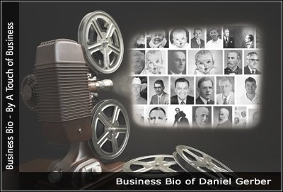 Image of a projector displaying images of Daniel Gerber