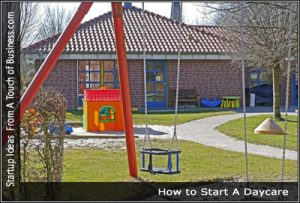 A playground next to a daycare center