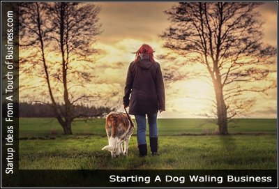Image of a woman walking a dog