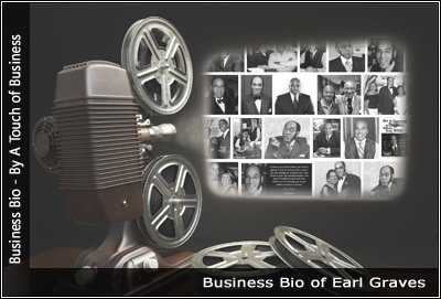 Image of a projector displaying images related to Earl Graves