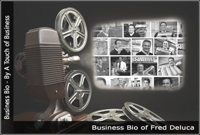 Image of a projector displaying images of Fred Deluca