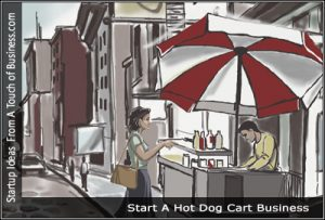 A woman ordering from a portable hot dog cart