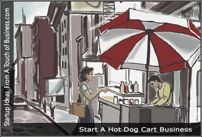 Image of a drawing people at a hot dog stands
