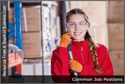 Image of a woman working in a storage area