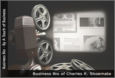 Image of a projector displaying images related to Charles Shoemate