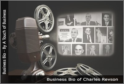 Image of a projector displaying images related to Charles Revson