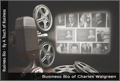 Image of a projector displaying images related to Charles Walgreen