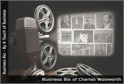 Image of a projector displaying images related to Charles Woolworth