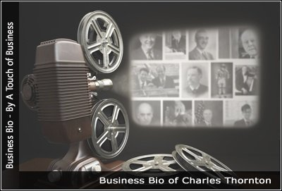 Image of a projector displaying images related to Charles Thornton