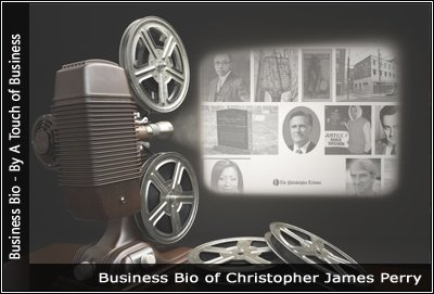 Image of a projector displaying images related to Christopher James Perry
