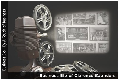 Image of a projector displaying images related to Clarence Saunders