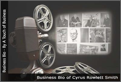 Image of a projector displaying images related to Cyrus Rowlett Smith