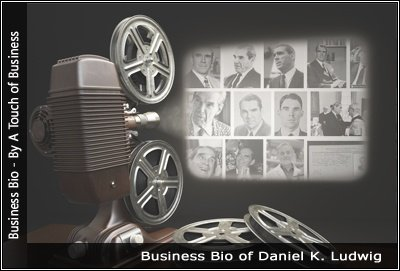 Image of a projector displaying images related to Daniel K. Ludwig