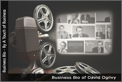 Image of a projector displaying images related to David Ogilvy
