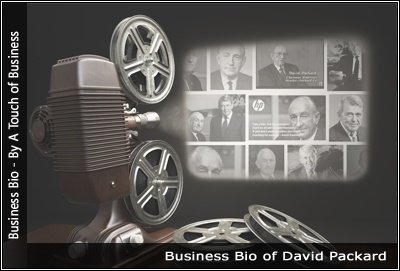 Image of a projector displaying images related to David Packard