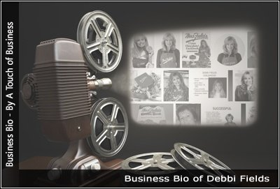 Image of a projector displaying images related to Debbi-Fields