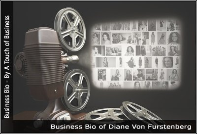 Image of a projector displaying images related to Diane Von Furstenberg