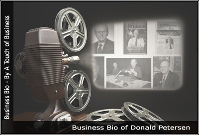 Image of a projector displaying images related to Donald Petersen