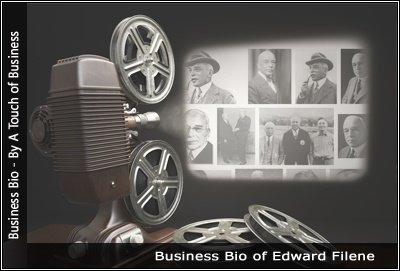 Image of a projector displaying images related to Edward Filene