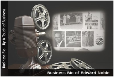 Image of a projector displaying images related to Edward Noble