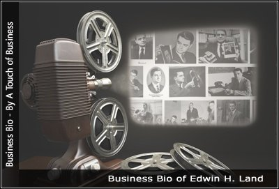 Image of a projector displaying images related to Edwin H. Land