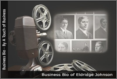 Image of a projector displaying images related to Eldridge Johnson