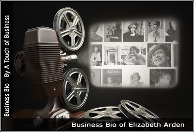 Image of a projector displaying images related to Elizabeth Arden