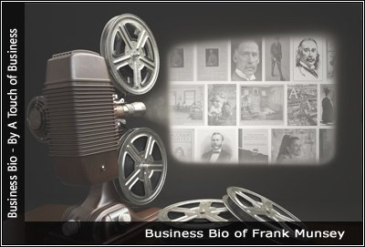 Image of a projector displaying images related to Frank Munsey
