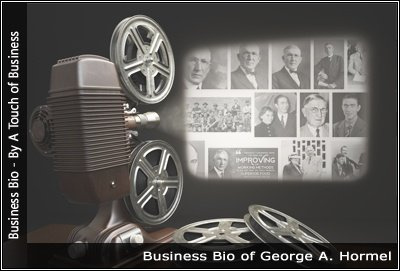 Image of a projector displaying images related to George A Hormel