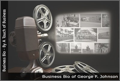 Image of a projector displaying images related to George F. Johnson