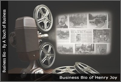 Image of a projector displaying images related to Henry Joy