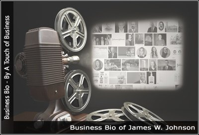Image of a projector displaying images related to James W. Johnson