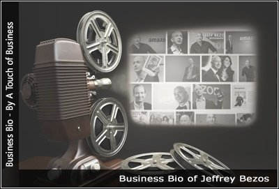 Image of a projector displaying images related to Jeffrey Bezos