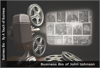 Image of a projector displaying images related to John Johnson