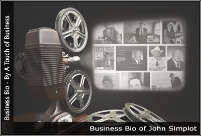 Image of a projector displaying images related to John Simplot