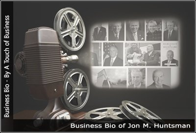 Image of a projector displaying images related to Jon M. Huntsman