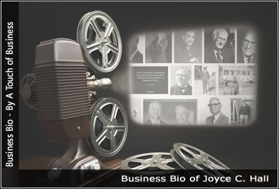 Image of a projector displaying images related to Joyce C. Hall