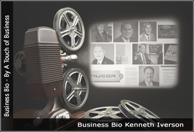 Image of a projector displaying images related to Kenneth Iverson