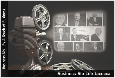Image of a projector displaying images related to Lee Iacocca