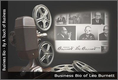Image of a projector displaying images related to Leo Burnett